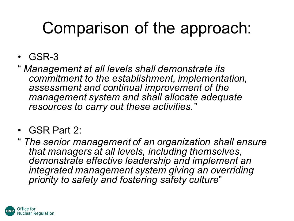 Comparison of the approach: