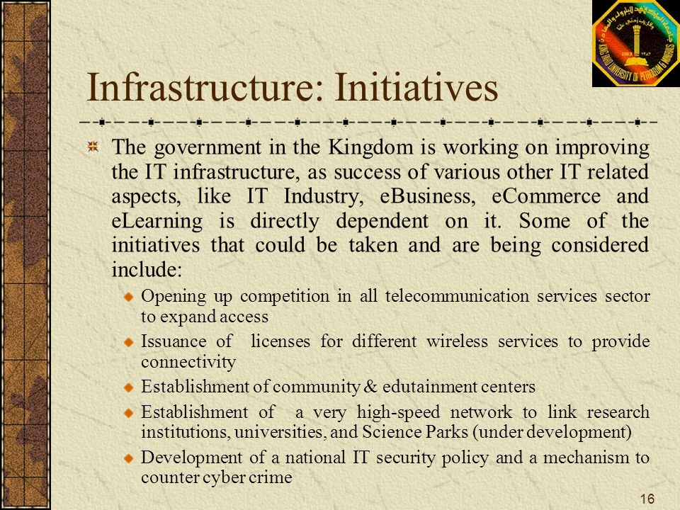 Infrastructure: Initiatives