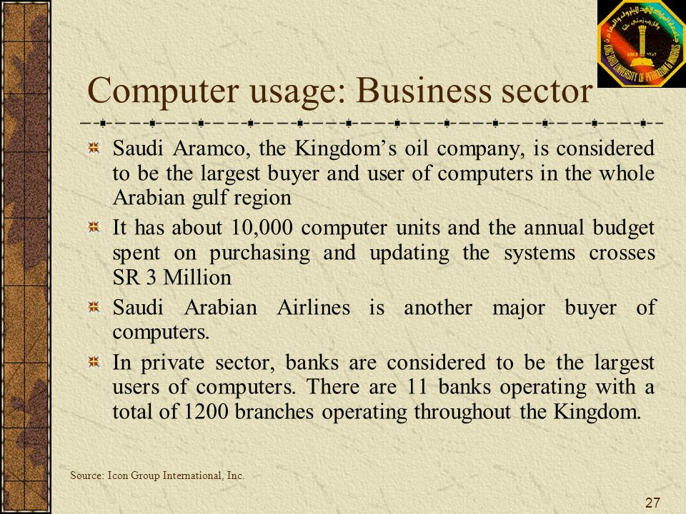 Computer usage: Business sector