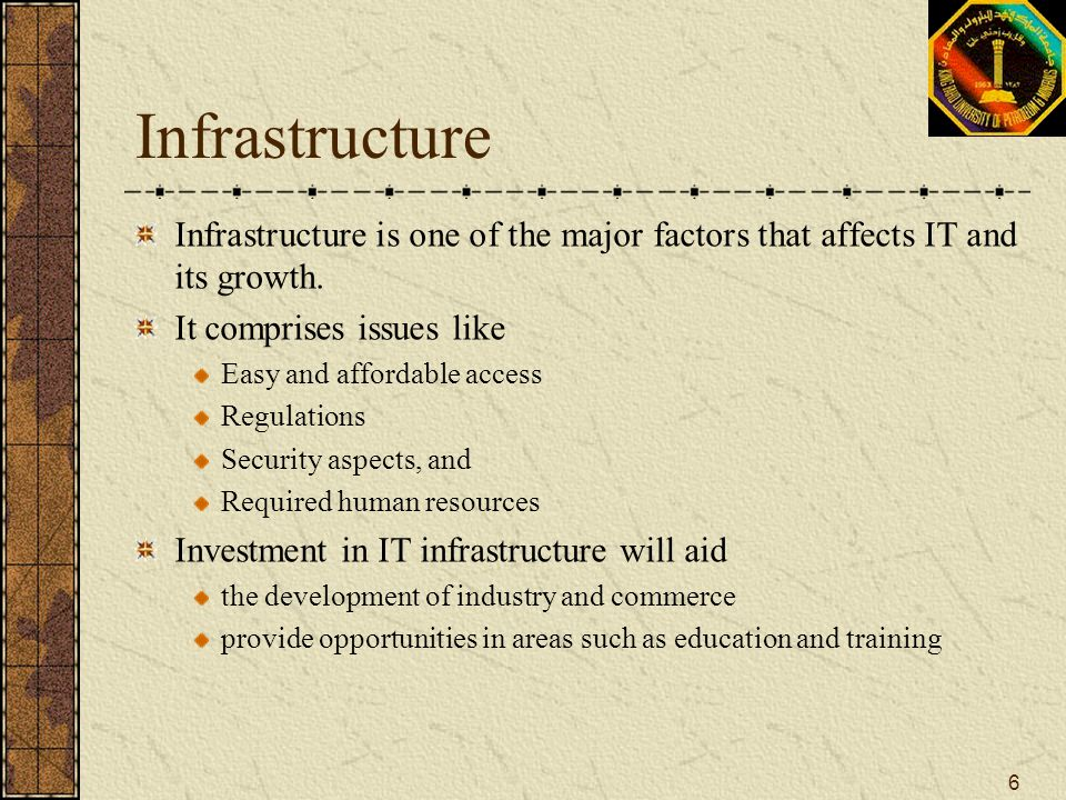 Infrastructure Infrastructure is one of the major factors that affects IT and its growth. It comprises issues like.