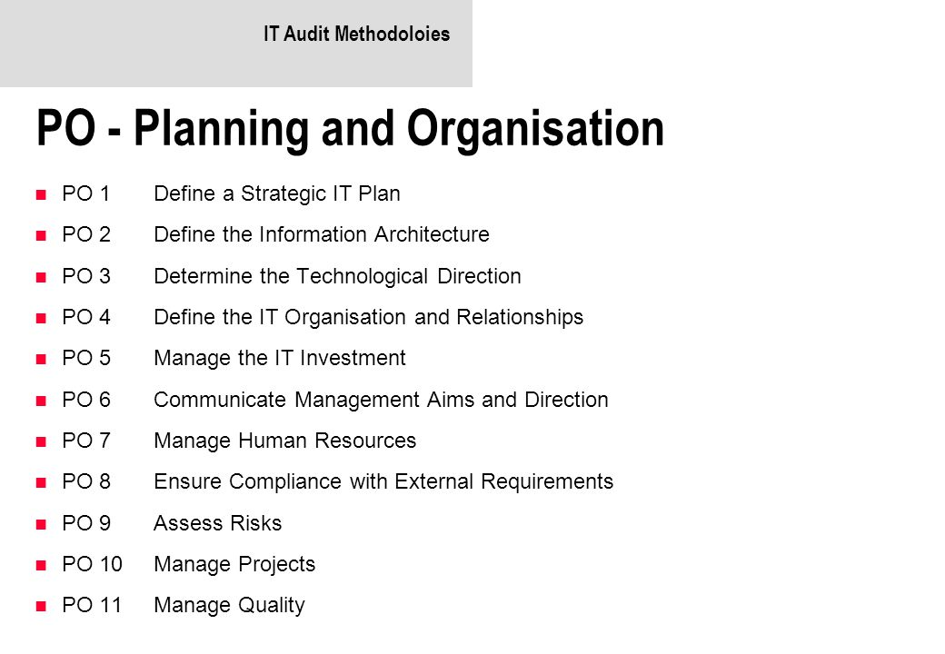 PO - Planning and Organisation