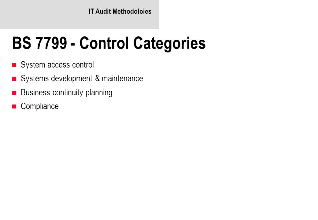 BS 7799 - Control Categories
