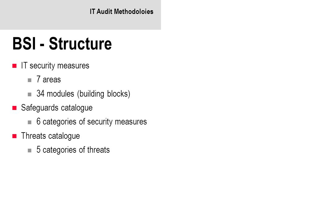 BSI - Structure IT security measures 7 areas