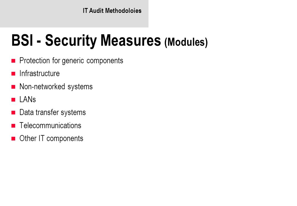 BSI - Security Measures (Modules)