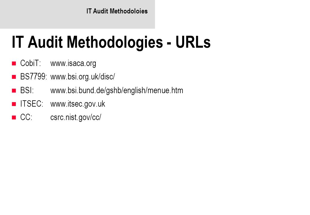 IT Audit Methodologies - URLs