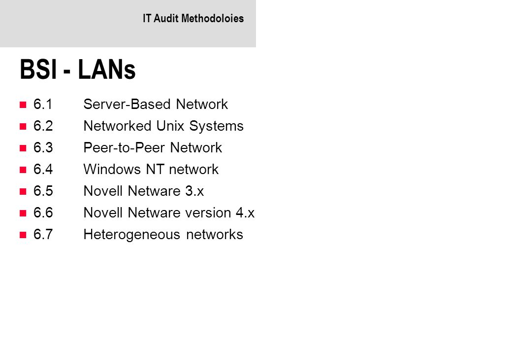 BSI - LANs 6.1 Server-Based Network 6.2 Networked Unix Systems