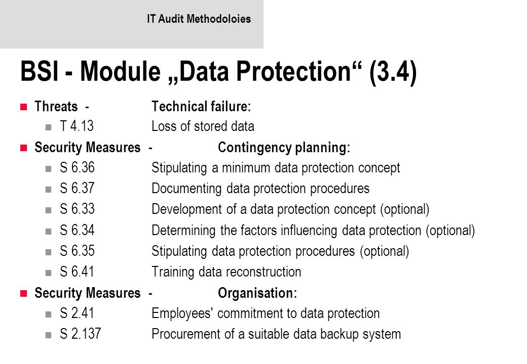 "BSI - Module ""Data Protection (3.4)"