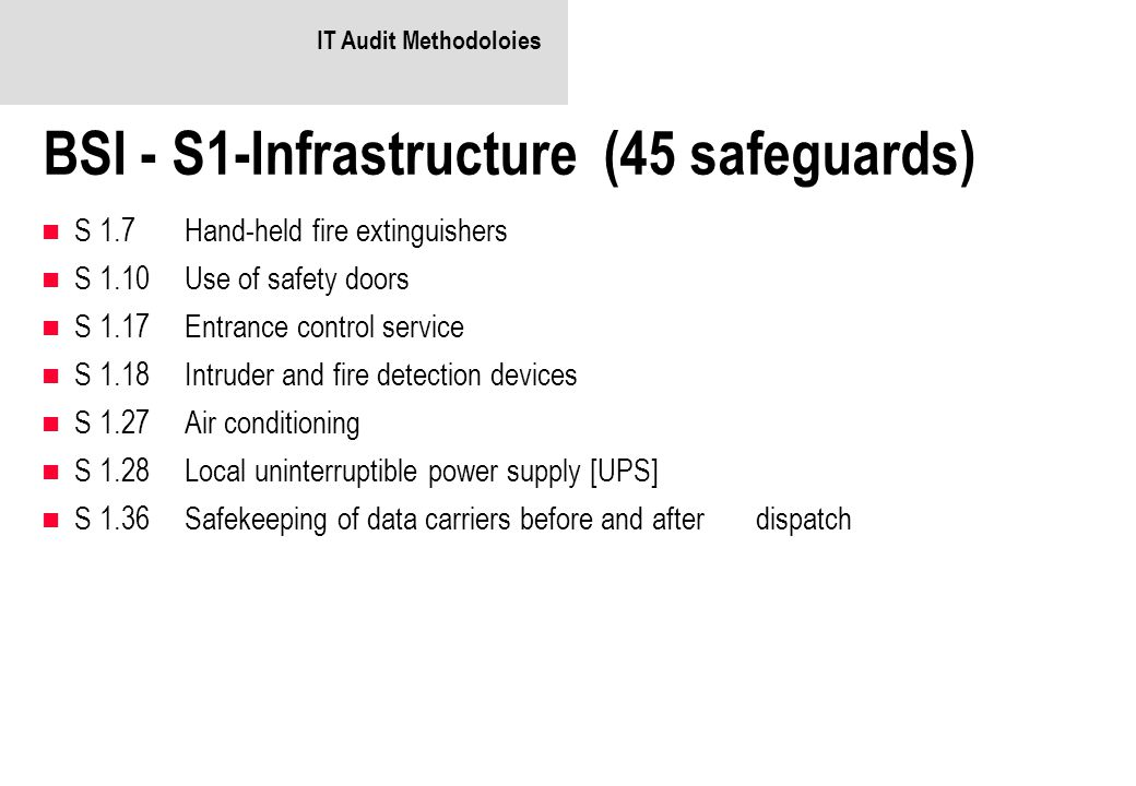 BSI - S1-Infrastructure (45 safeguards)