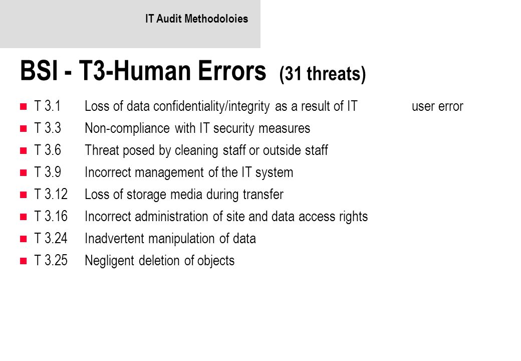 BSI - T3-Human Errors (31 threats)