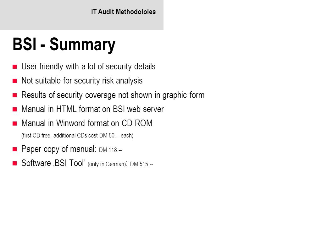 BSI - Summary User friendly with a lot of security details