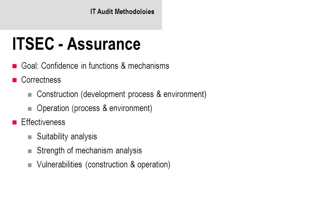 ITSEC - Assurance Goal: Confidence in functions & mechanisms