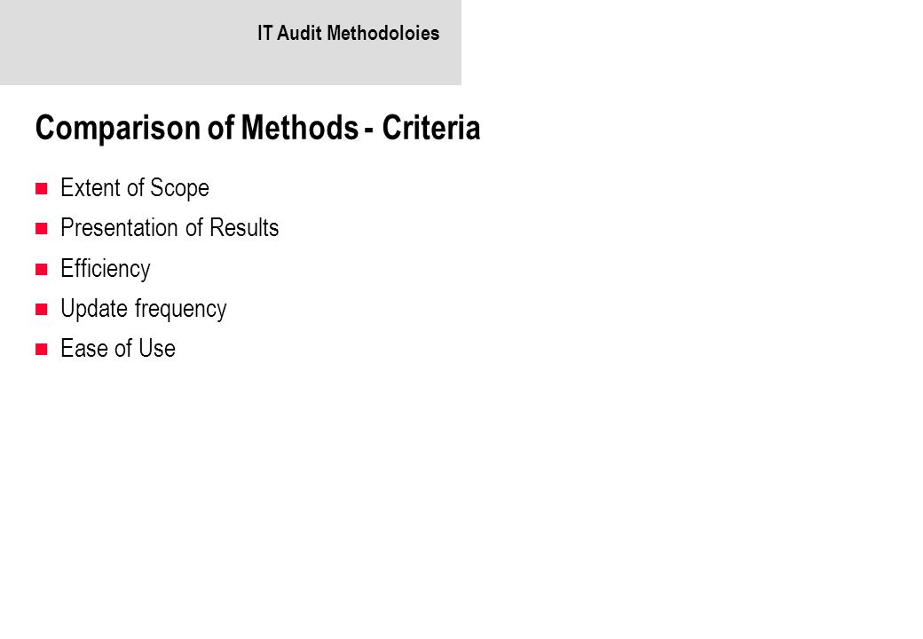 Comparison of Methods - Criteria