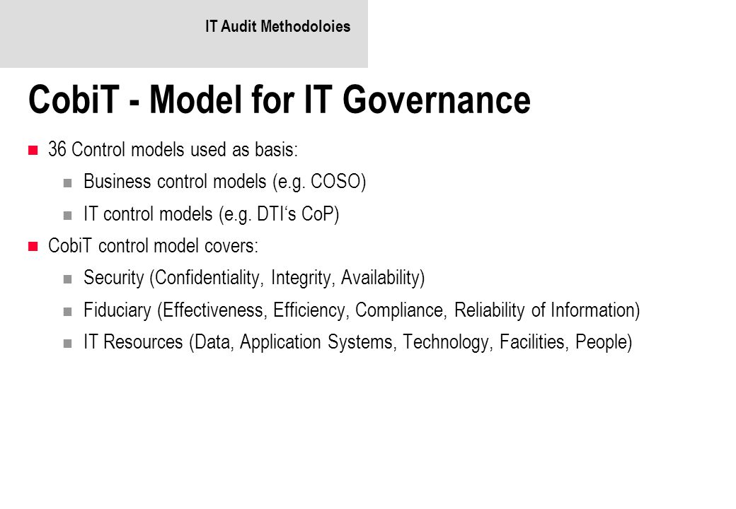 CobiT - Model for IT Governance