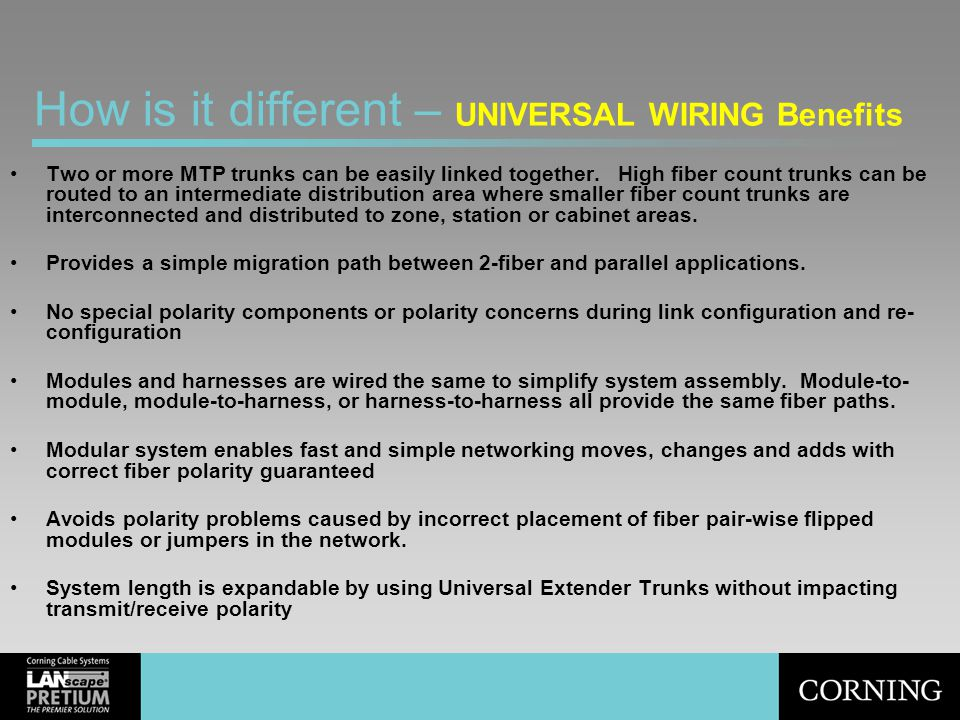 How is it different – UNIVERSAL WIRING Benefits