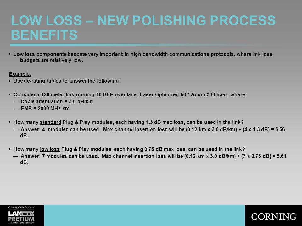 LOW LOSS – NEW POLISHING PROCESS BENEFITS