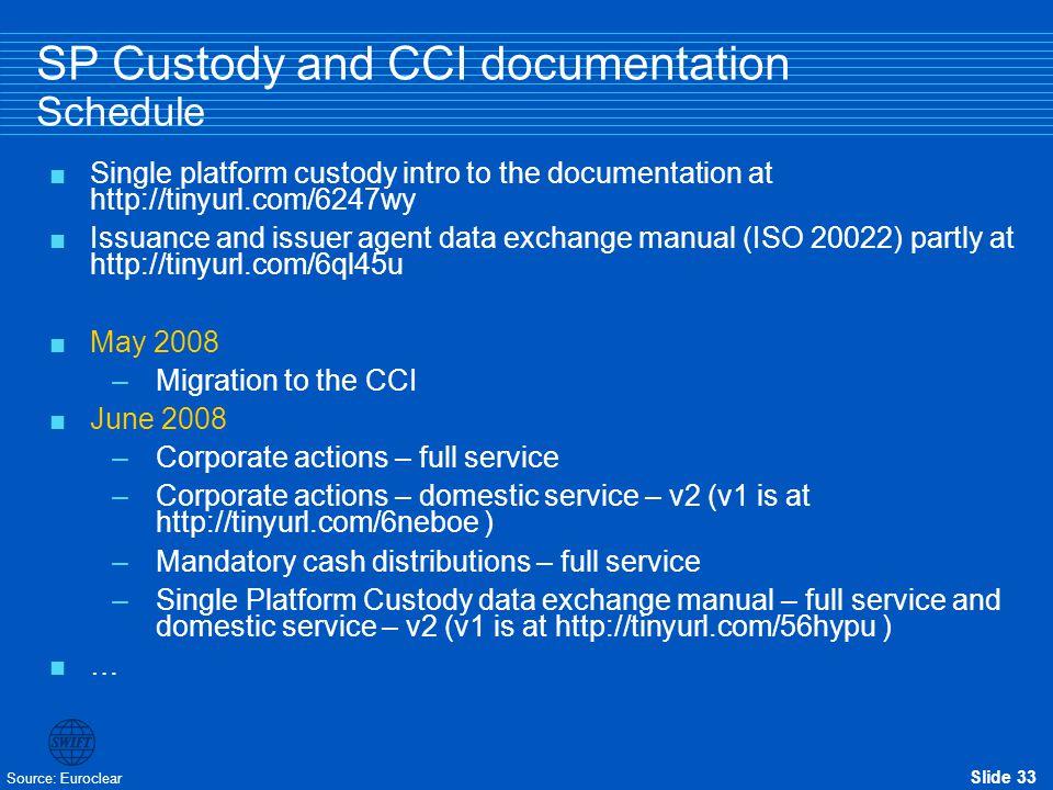 SP Custody and CCI documentation Schedule