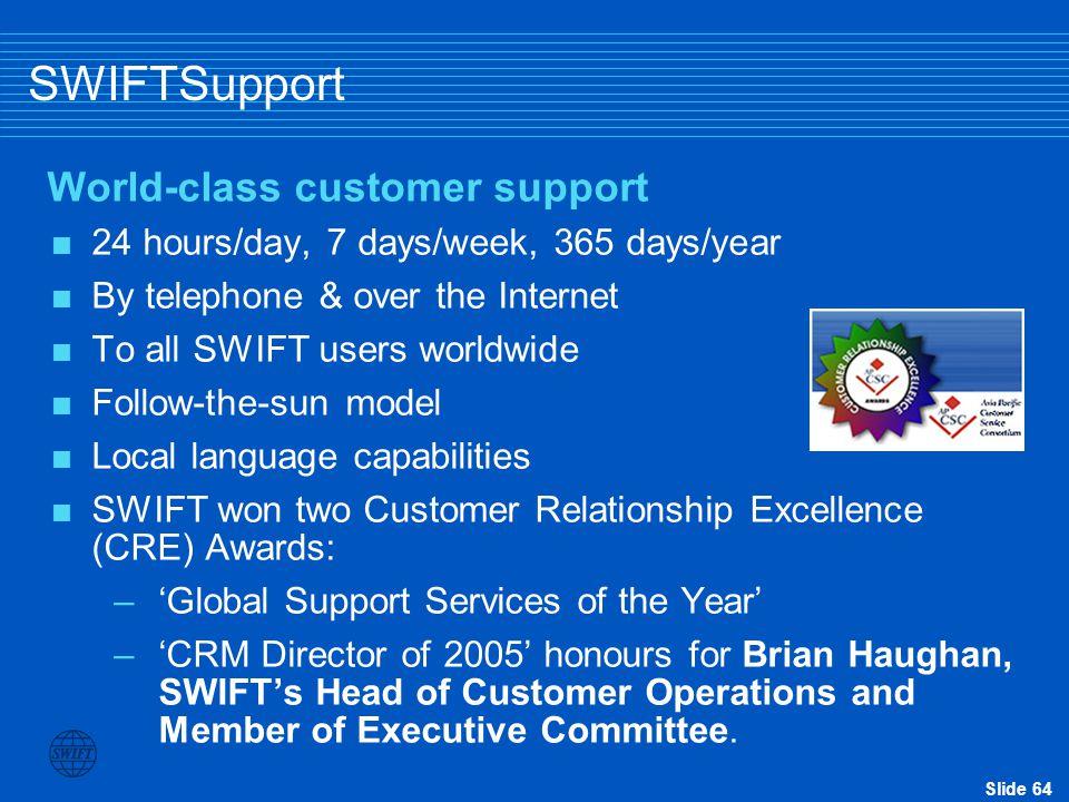 SWIFTSupport World-class customer support