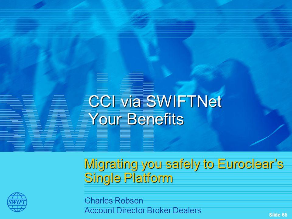 CCI via SWIFTNet Your Benefits