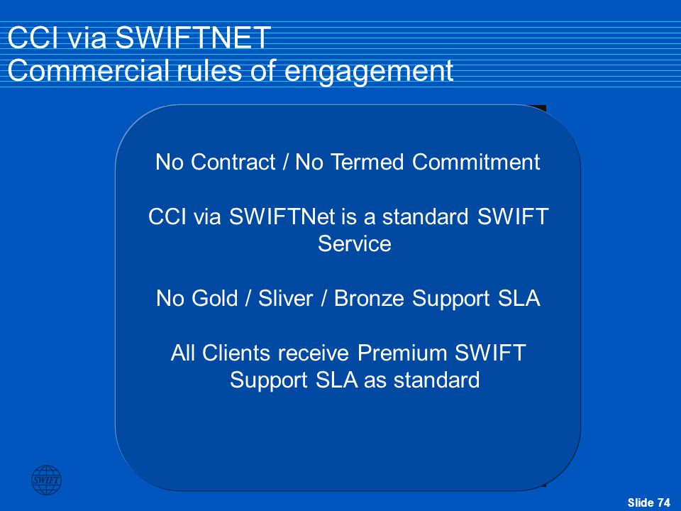 CCI via SWIFTNET Commercial rules of engagement