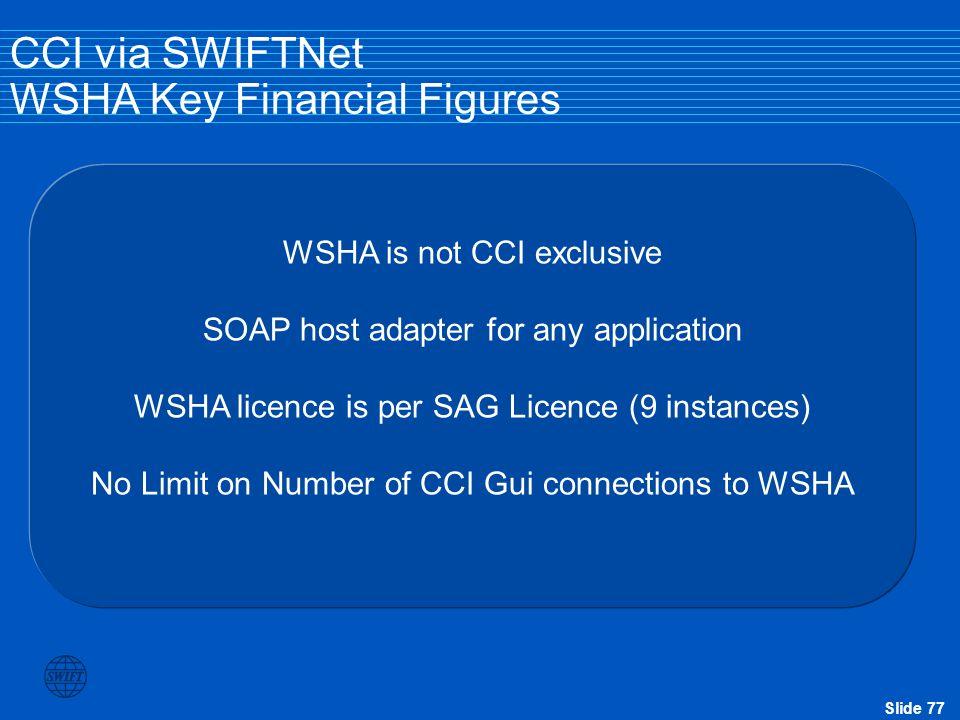 CCI via SWIFTNet WSHA Key Financial Figures