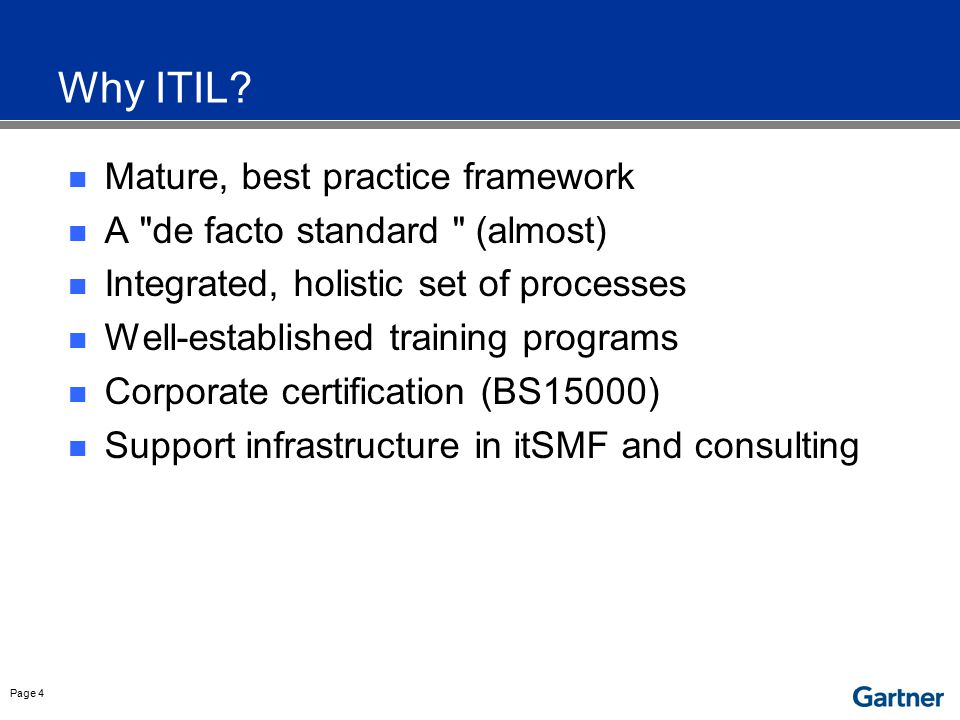 Gartner View of ITIL