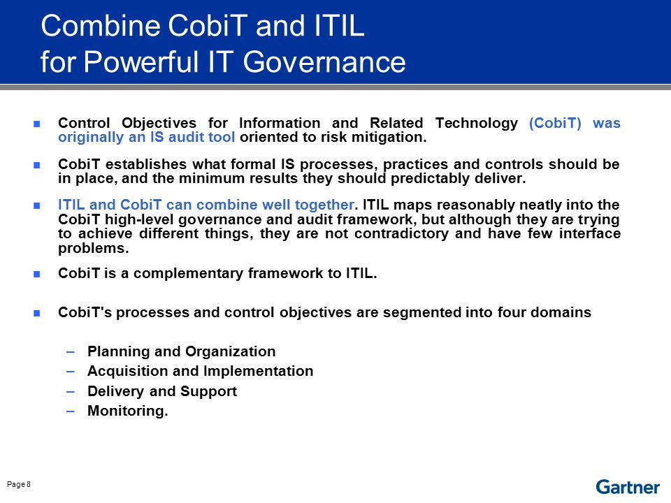 Combine CobiT and ITIL for Powerful IT Governance