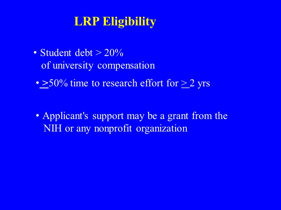 LRP Eligibility Student debt > 20% of university compensation