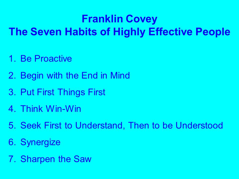 Franklin Covey The Seven Habits of Highly Effective People