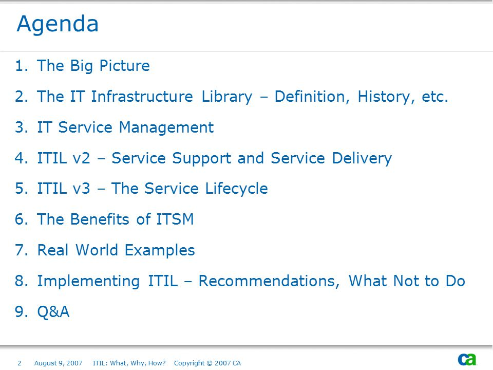 Agenda The Big Picture. The IT Infrastructure Library – Definition, History, etc. IT Service Management.