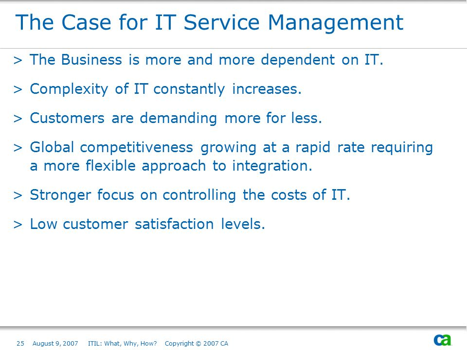 The Case for IT Service Management