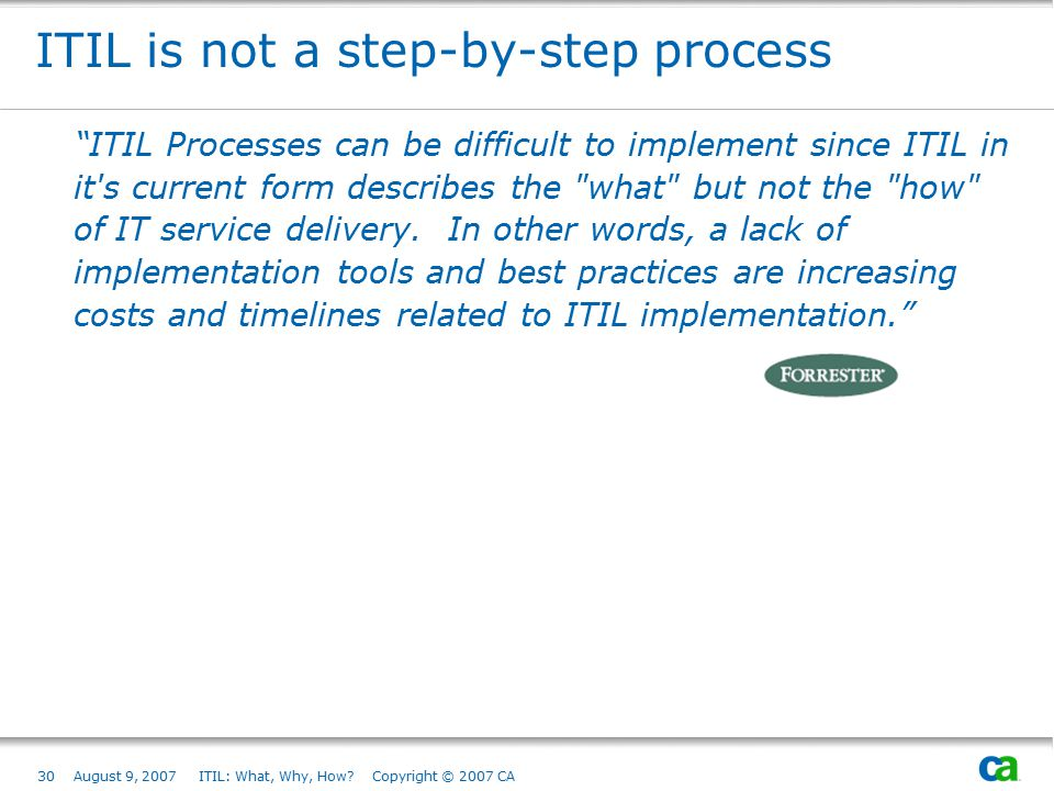 ITIL is not a step-by-step process