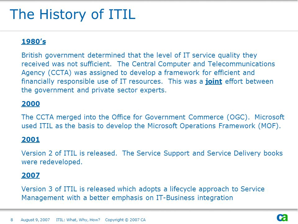 The History of ITIL 1980's.