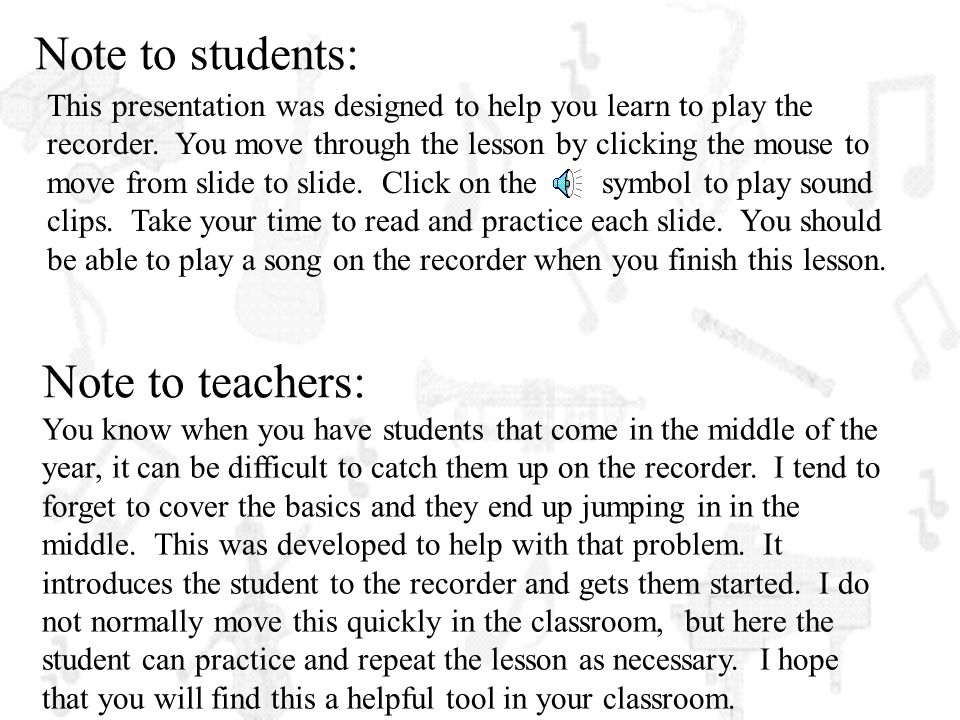 Note to students: Note to teachers: