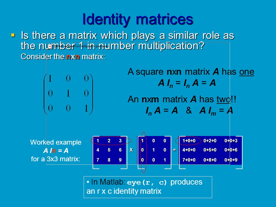 Identity matrices Is there a matrix which plays a similar role as the number 1 in number multiplication