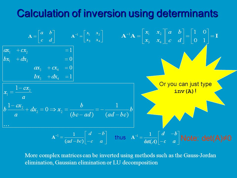 Calculation of inversion using determinants