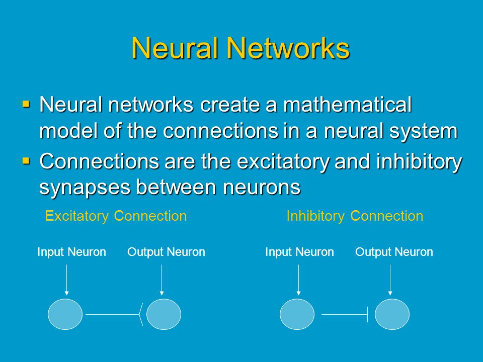 Neural Networks Neural networks create a mathematical model of the connections in a neural system.