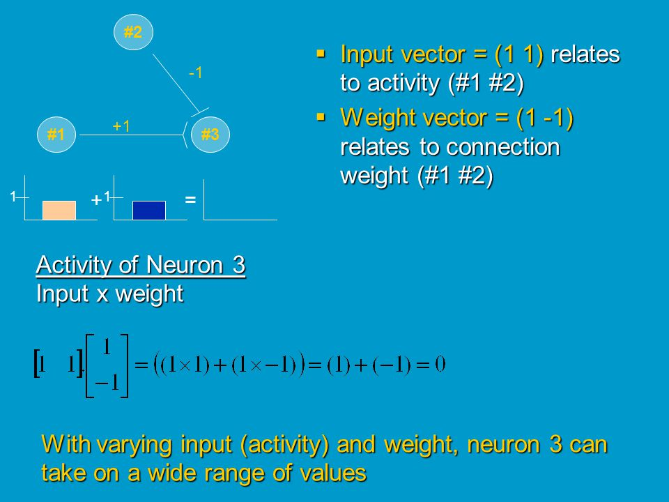 Input vector = (1 1) relates to activity (#1 #2)