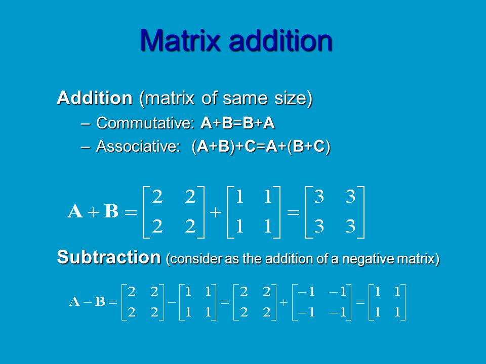 Matrix addition Addition (matrix of same size)