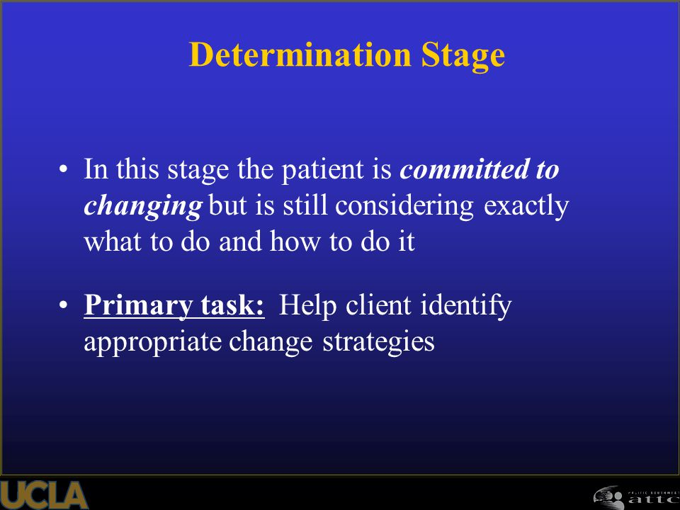 Determination Stage In this stage the patient is committed to changing but is still considering exactly what to do and how to do it.