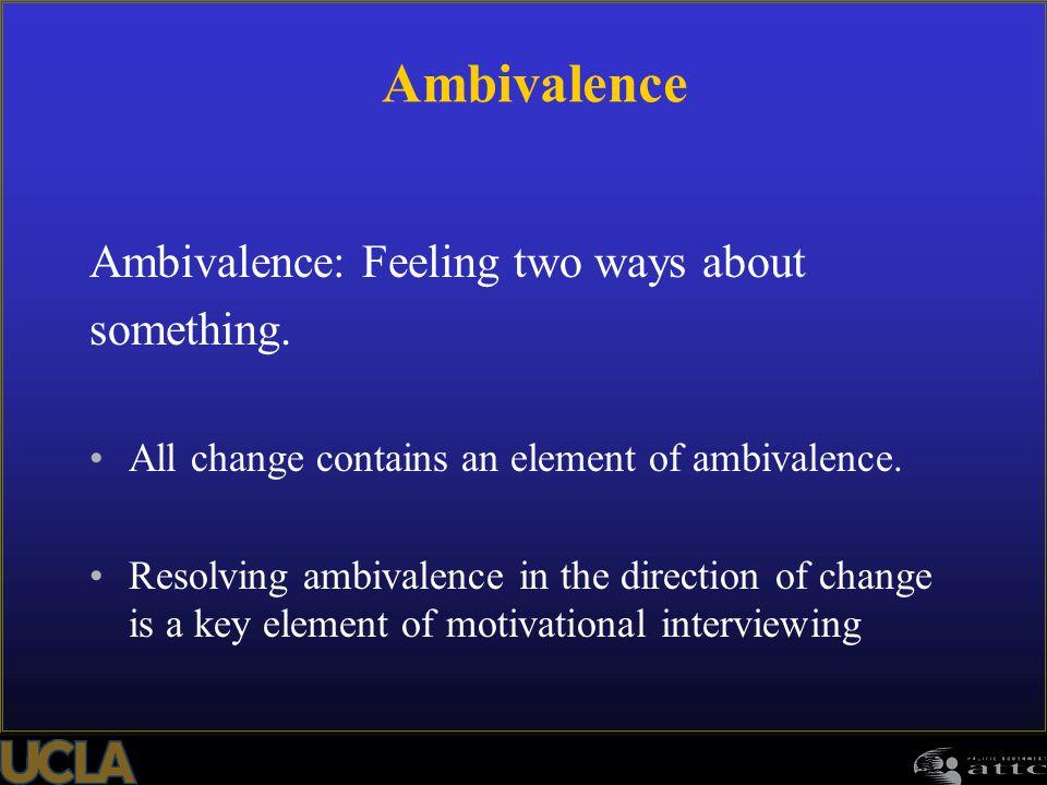 Ambivalence Ambivalence: Feeling two ways about something.