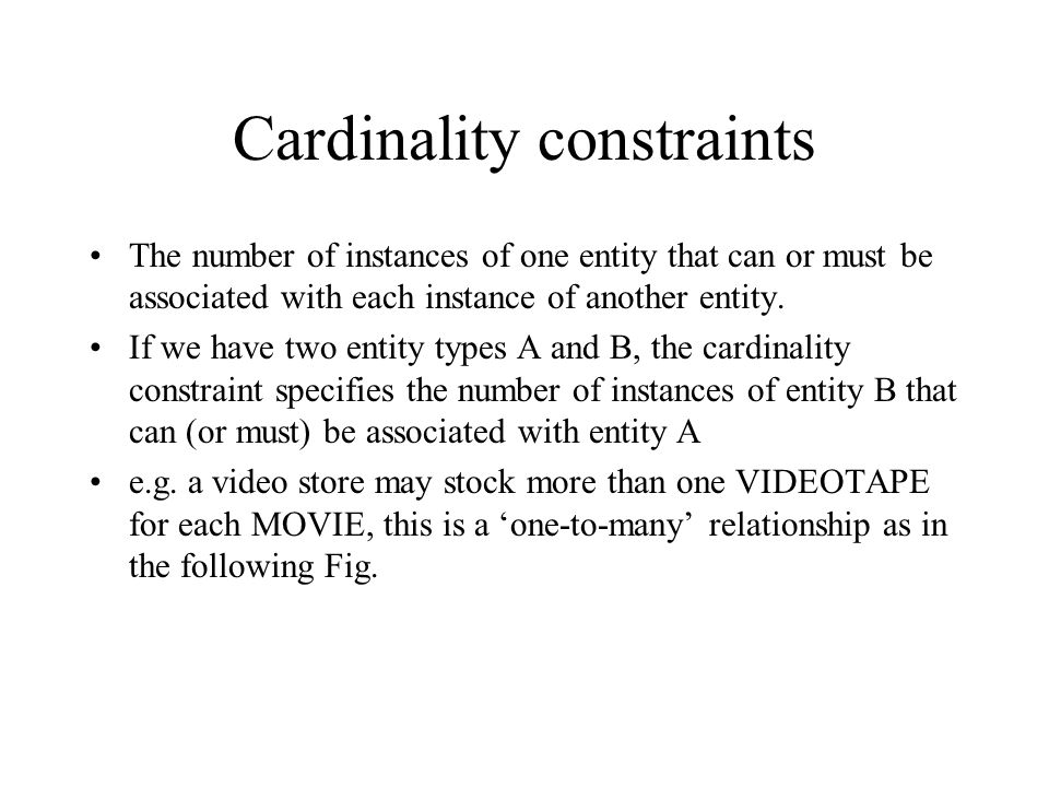 Cardinality constraints