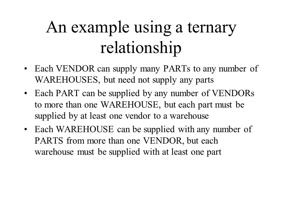 An example using a ternary relationship