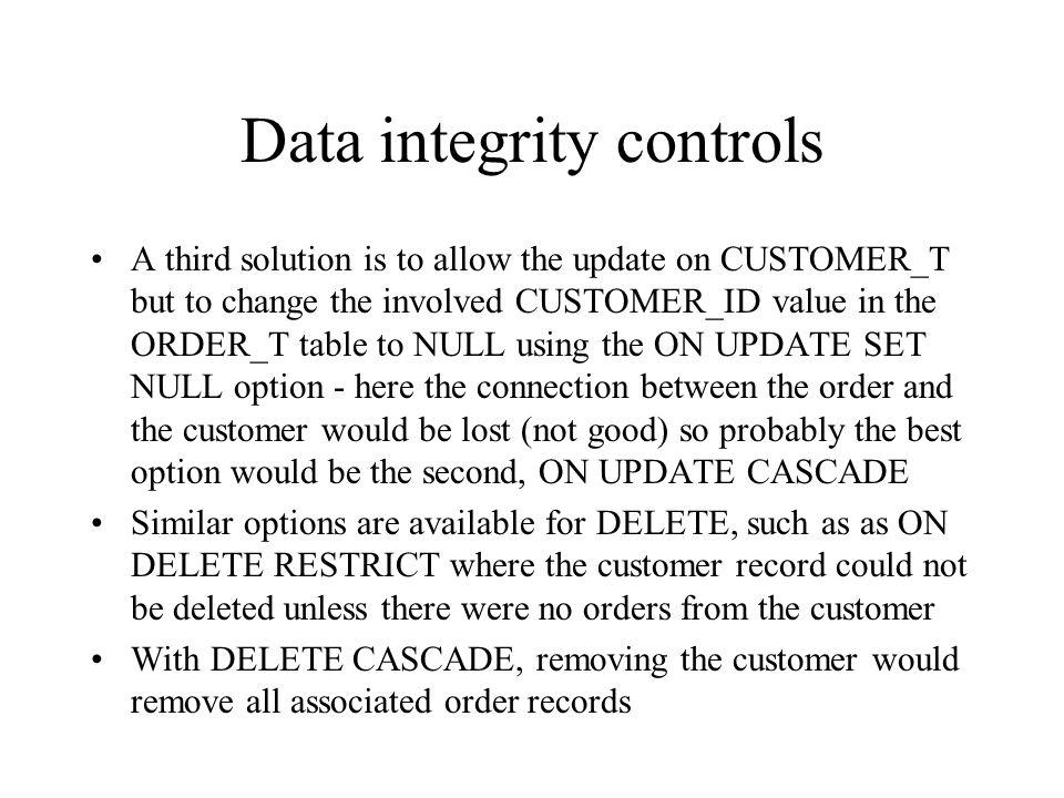Data integrity controls