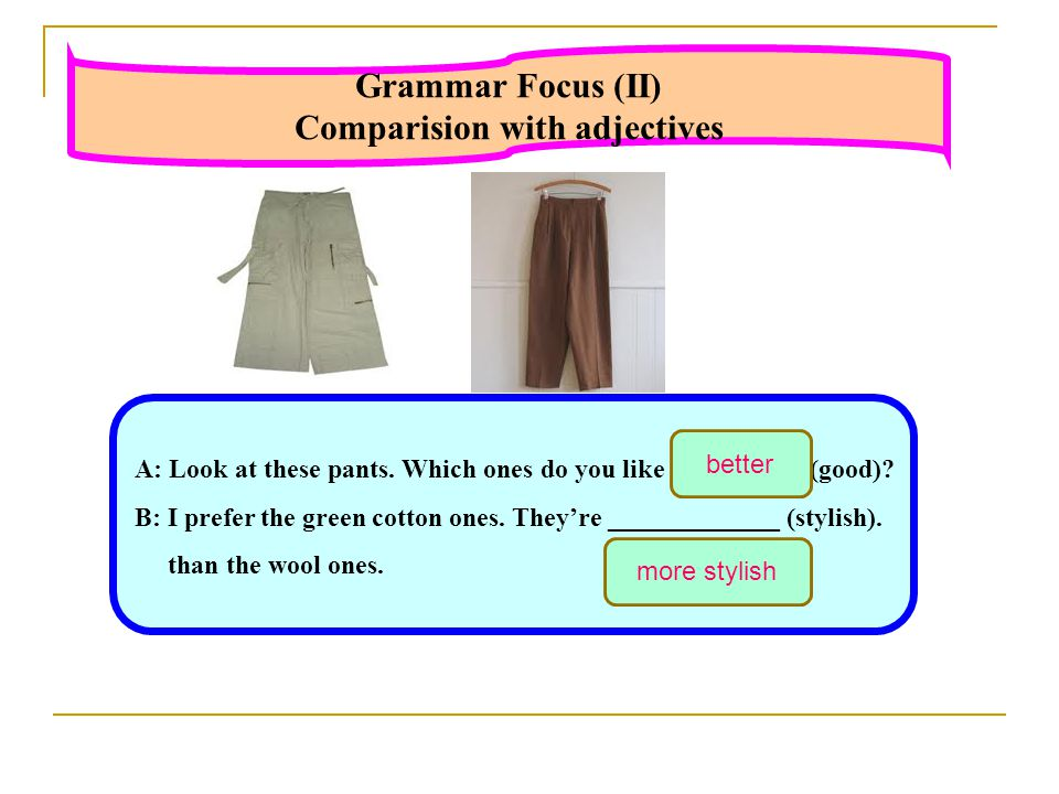 Comparision with adjectives