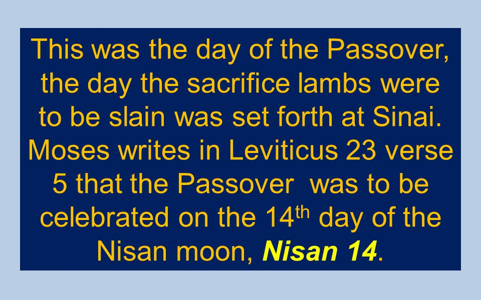 This was the day of the Passover, the day the sacrifice lambs were to be slain was set forth at Sinai.