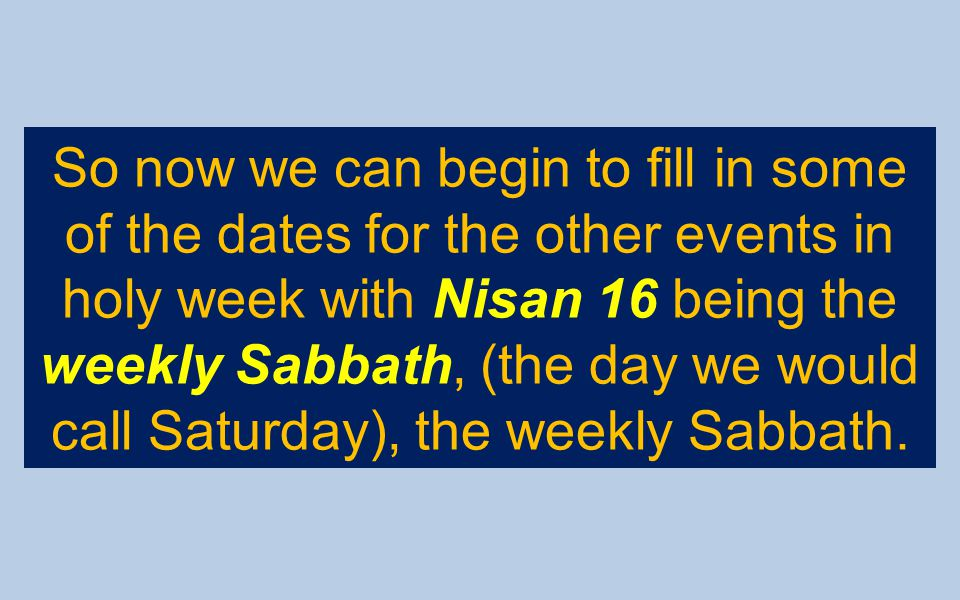 So now we can begin to fill in some of the dates for the other events in holy week with Nisan 16 being the weekly Sabbath, (the day we would call Saturday), the weekly Sabbath.