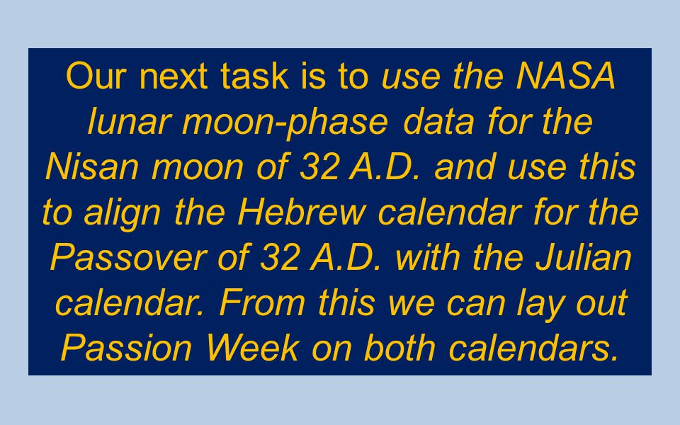 Our next task is to use the NASA lunar moon-phase data for the Nisan moon of 32 A.D.