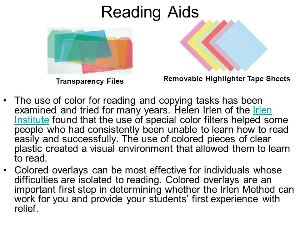 Reading Aids Removable Highlighter Tape Sheets. Transparency Files.