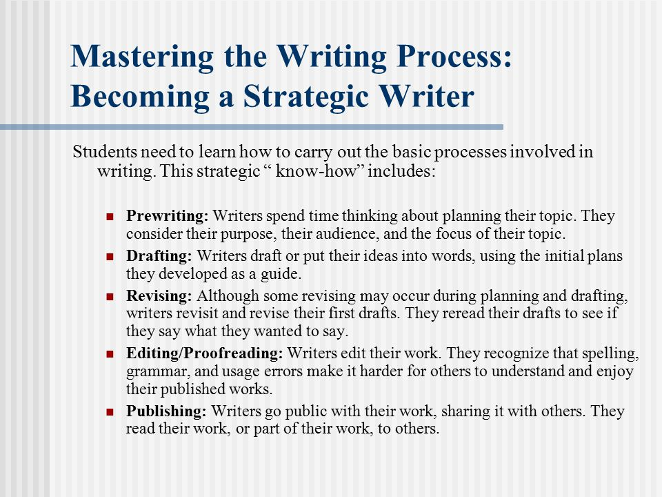 Mastering the Writing Process: Becoming a Strategic Writer
