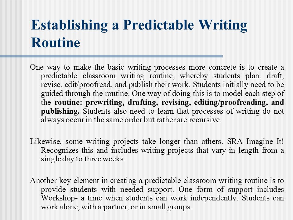 Establishing a Predictable Writing Routine